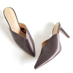 NEW Who What Wear Pewter Satin Dip Front Mule